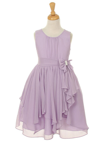 Lavender Chiffon Knee Length Dress with Bow