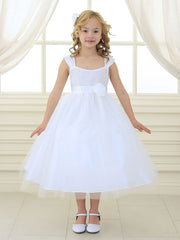 Tulle Layered Flower Girl Dress with Hand-rolled Pin Rosette