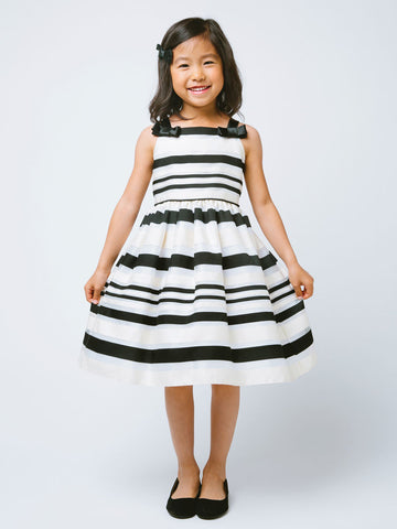 Cute Woven Striped Organza Dress with Shoulder Bows