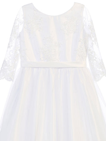 White Elegant Lace Dress with Long Tulle Skirt
