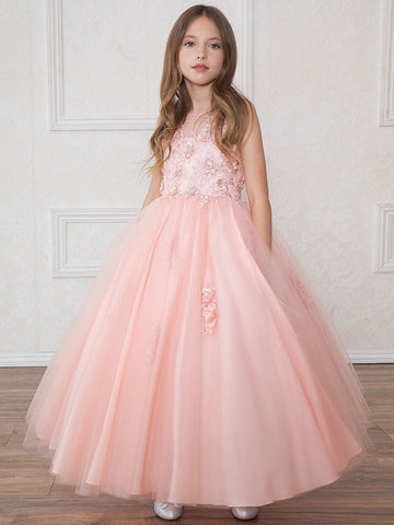 Long Tulle Luxurious Dress with 3D Applique