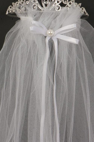 Crystal stone Communion crown with veil