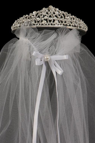 Sweet Rhinestone Communion crown with veil