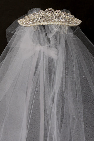 Rhinestone and pearl crown with white veil