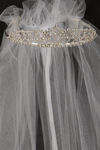 Perfect Crystal stone Communion crown with veil