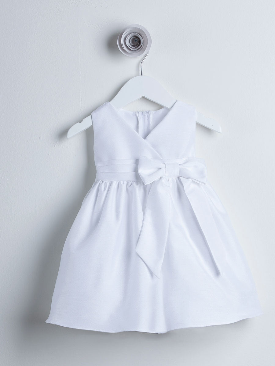 V-neck Solid Dupioni Dress With Ribbon