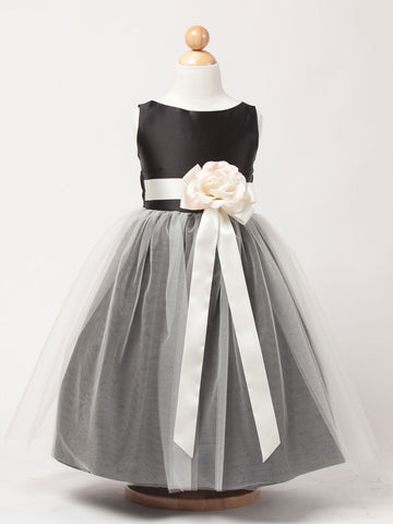 Black Satin Flower Girl Dress with Tulle skirt