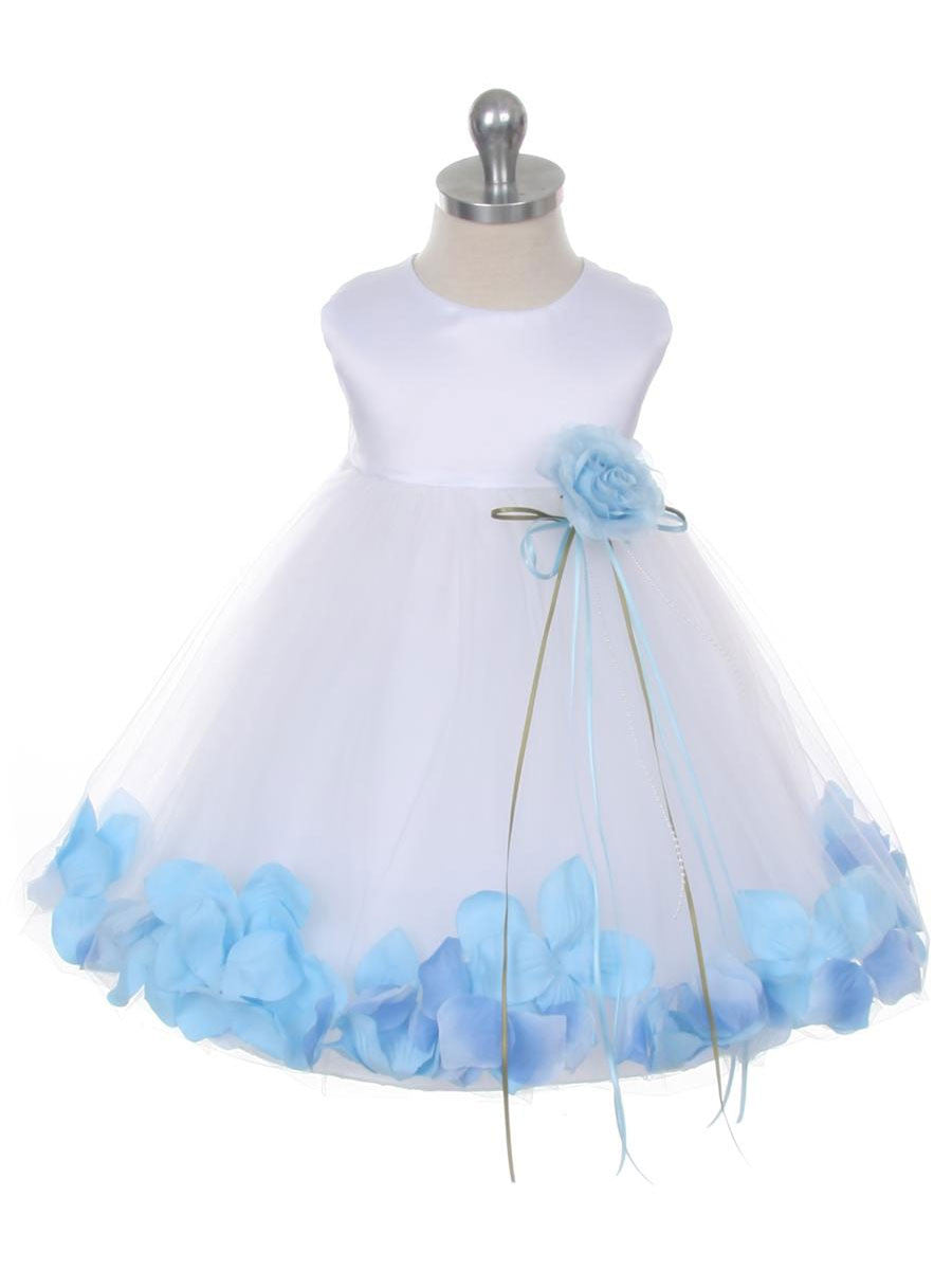 Classic Satin Flower Girl Dress With Floating Petals Just Unique