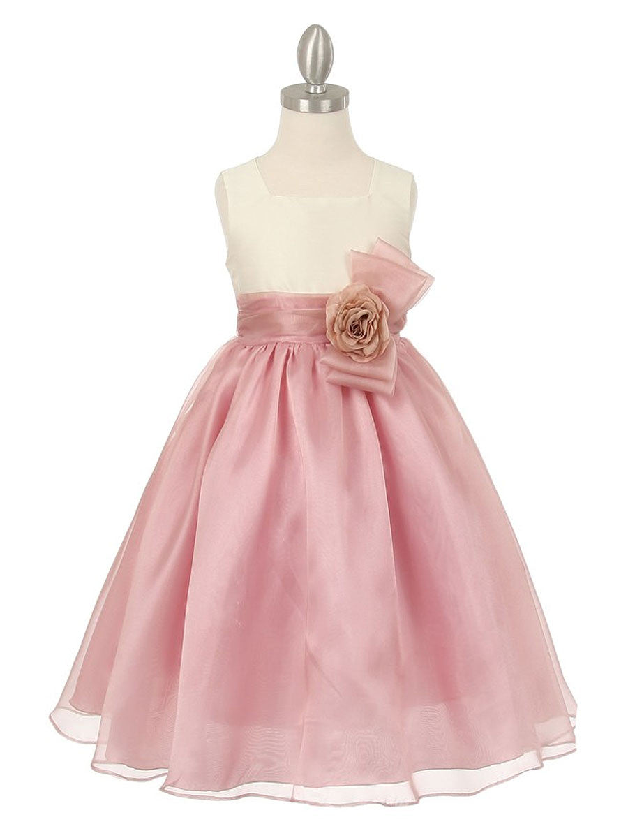 Dupioni And Organza Flower Girl Dress With Matching Corsage Just