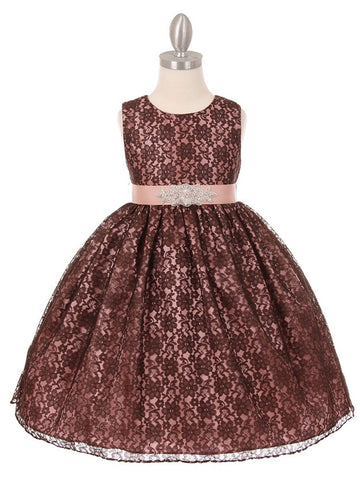 Lace Dress with Dazzling Belt