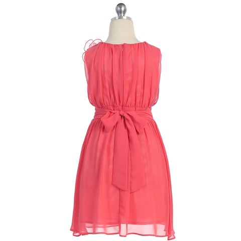 Chic Coral Chiffon Gathered Dress With Pin On Flower