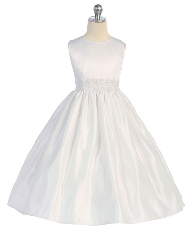 Bridal Satin Dress with Beaded Waistband