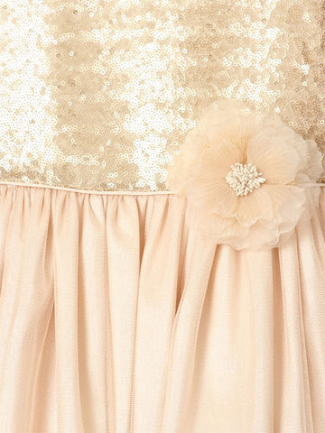 Matte Sequin Long Dress with Full Tulle Skirt