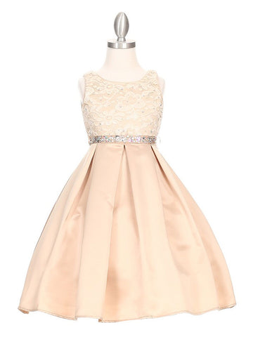 Rhinestone Lace Top Dress with Satin Pleated Skirt
