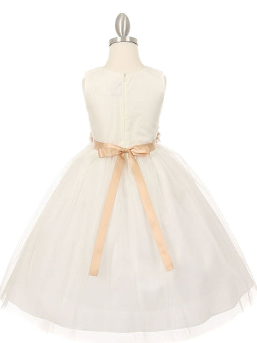 Versatile Ivory Tulle V Neck Pleated Flower Girl Dress