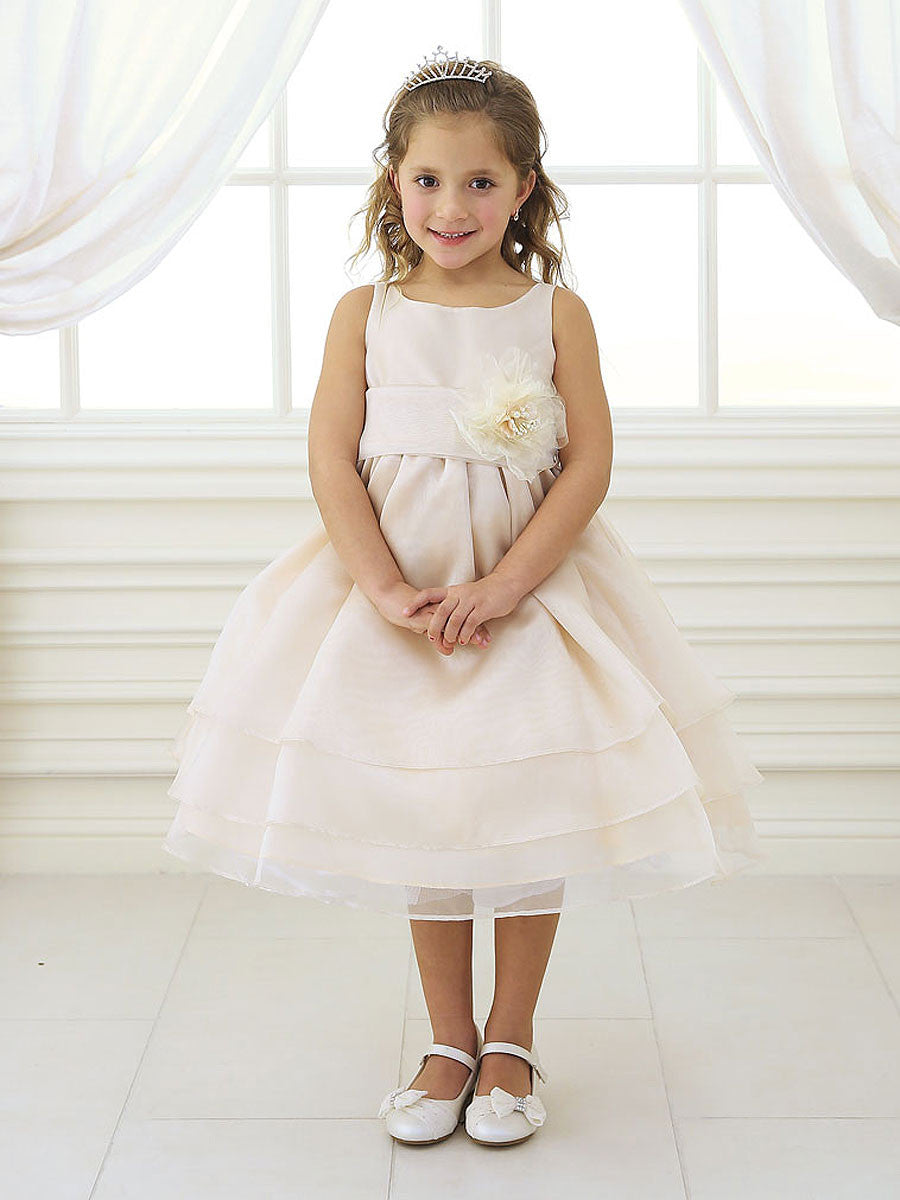 Adorable Coral Overlay Flower Girl Dress With Sash And Flower Just