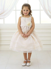 Lilac Adorable Overlay Flower Girl Dress with Sash and Flower
