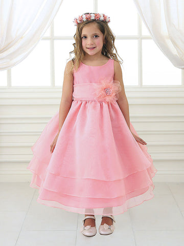 Flower girl dresses pinkblush flower girl dresses just unique adorable coral overlay flower girl dress with sash and flower mightylinksfo