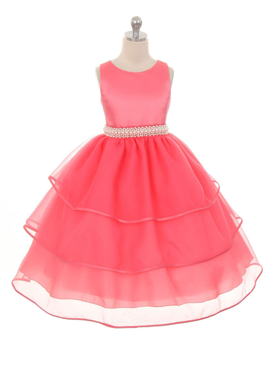 Coral Organza Flower Girl Dresses