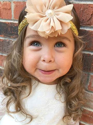 Gold Glitter with Champagne Adjustable Headband