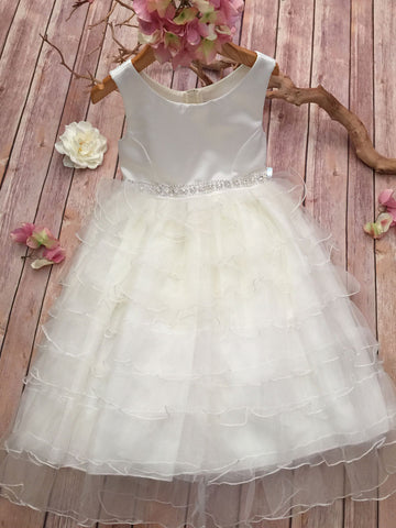 Elegant Cascade Tulle & Satin Dress with Dazzling Sash Ribbon