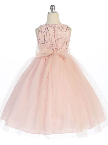 Blush Sequin Dress with Tulle Skirt