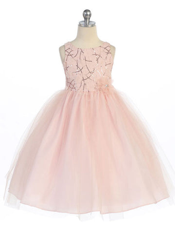 Champagne Sequin Dress with Tulle Skirt