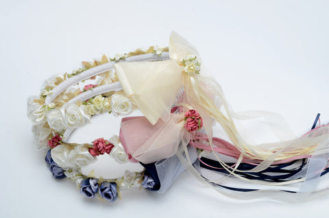 Satin Wreath with silk flowers