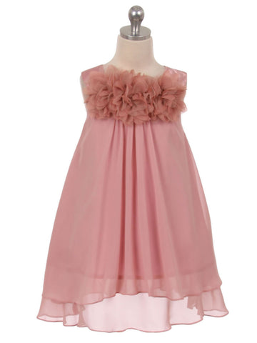 Mesh Flower Chiffon Hi-Low Dress