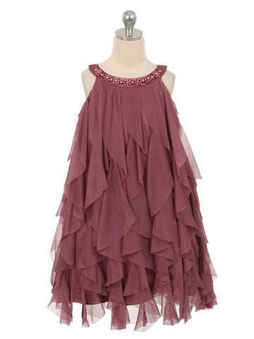 Perfect Mesh Ruffle A-line Dress