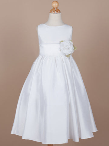 Classic Poly Silk Flower Girl Dress with Organza Sash