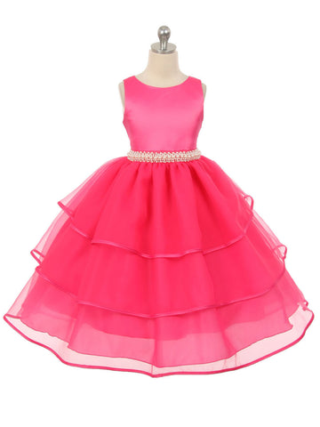Satin and Organza Layered Flower Girl Dress