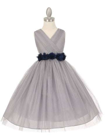 Gorgeous Silver Flower Girl Dress with Chiffon Flower Belt
