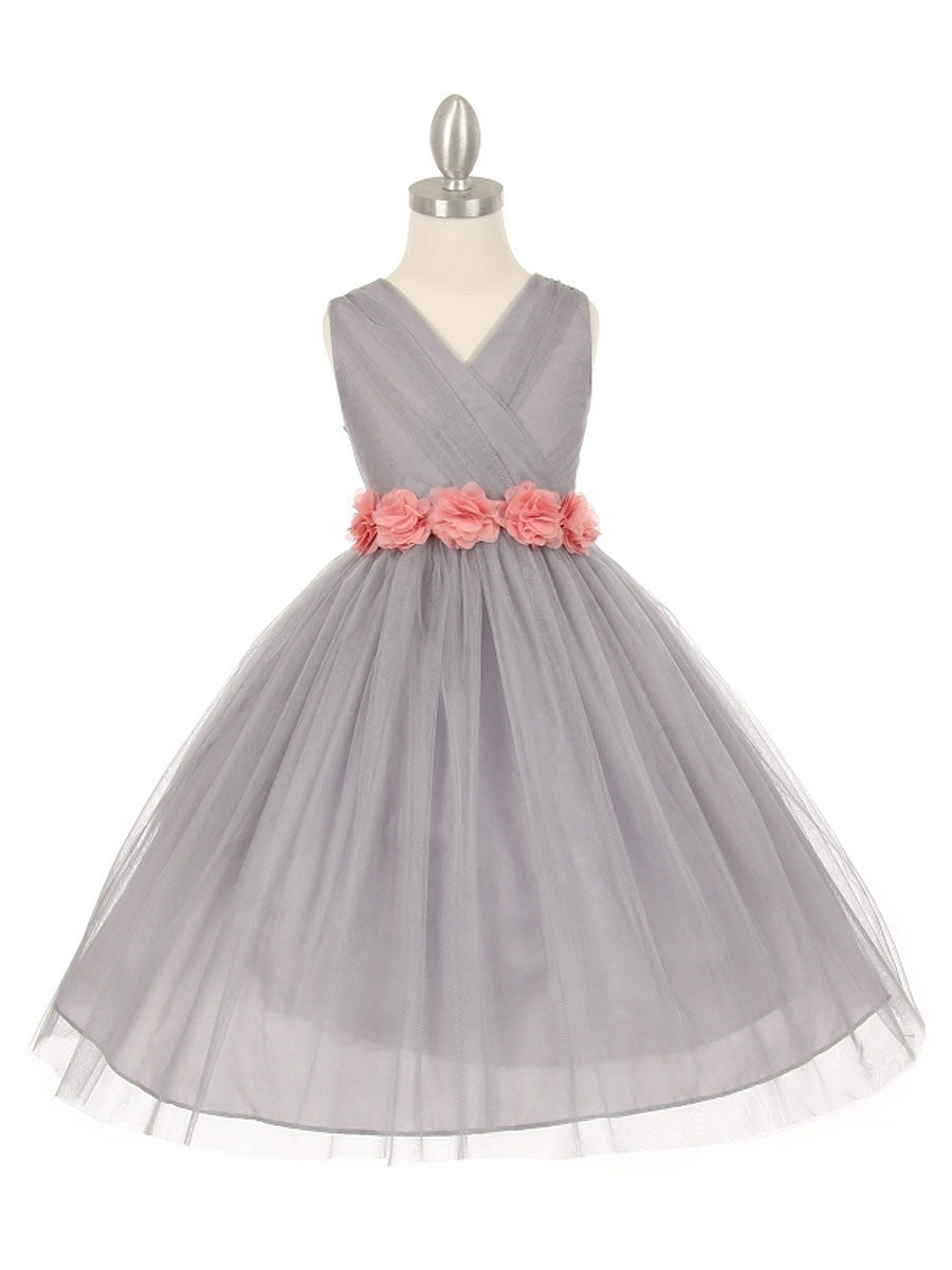 Junior bridesmaid dresses just unique boutique gorgeous silver flower girl dress with chiffon flower belt ombrellifo Images