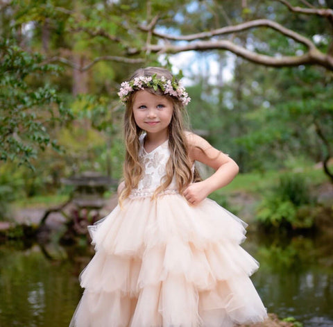 Elegant Rose Pattern Brocade Flower Girl Dress