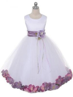 Satin Flower Girl Dress With Floating Petals and Organza Sash