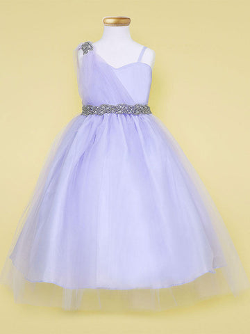 One shoulder tulle dress with rhinestone waistband