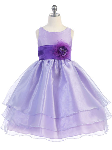 Adorable Champagne Overlay Flower Girl Dress with Sash and Flower