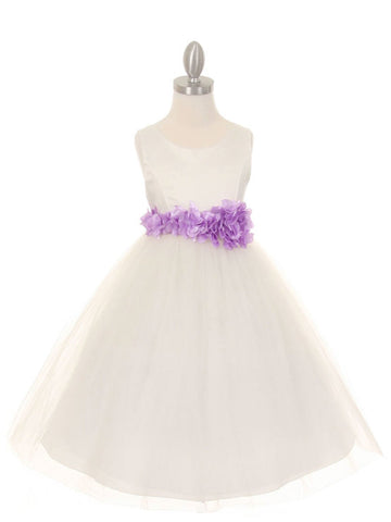 Ivory Satin & Tulle Flower Girl Dress with Floral Sash