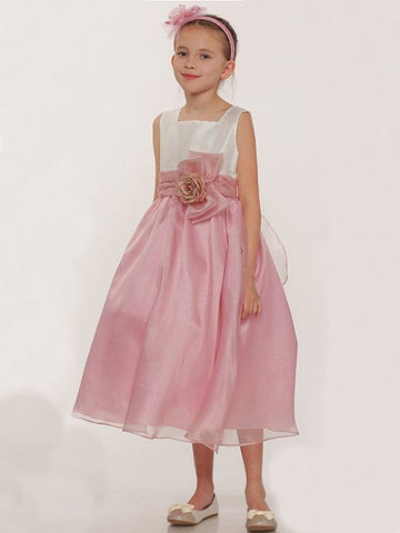 Dupioni and Organza Flower Girl Dress With Matching Corsage