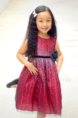 Red Tulle Mesh Holiday Dress with Hand-rolled Velvet Rosette