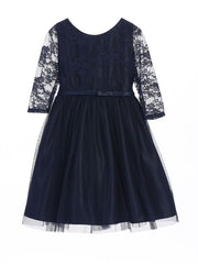 Sweet Lace Ballerina Style Dress with 3/4 Sleeve