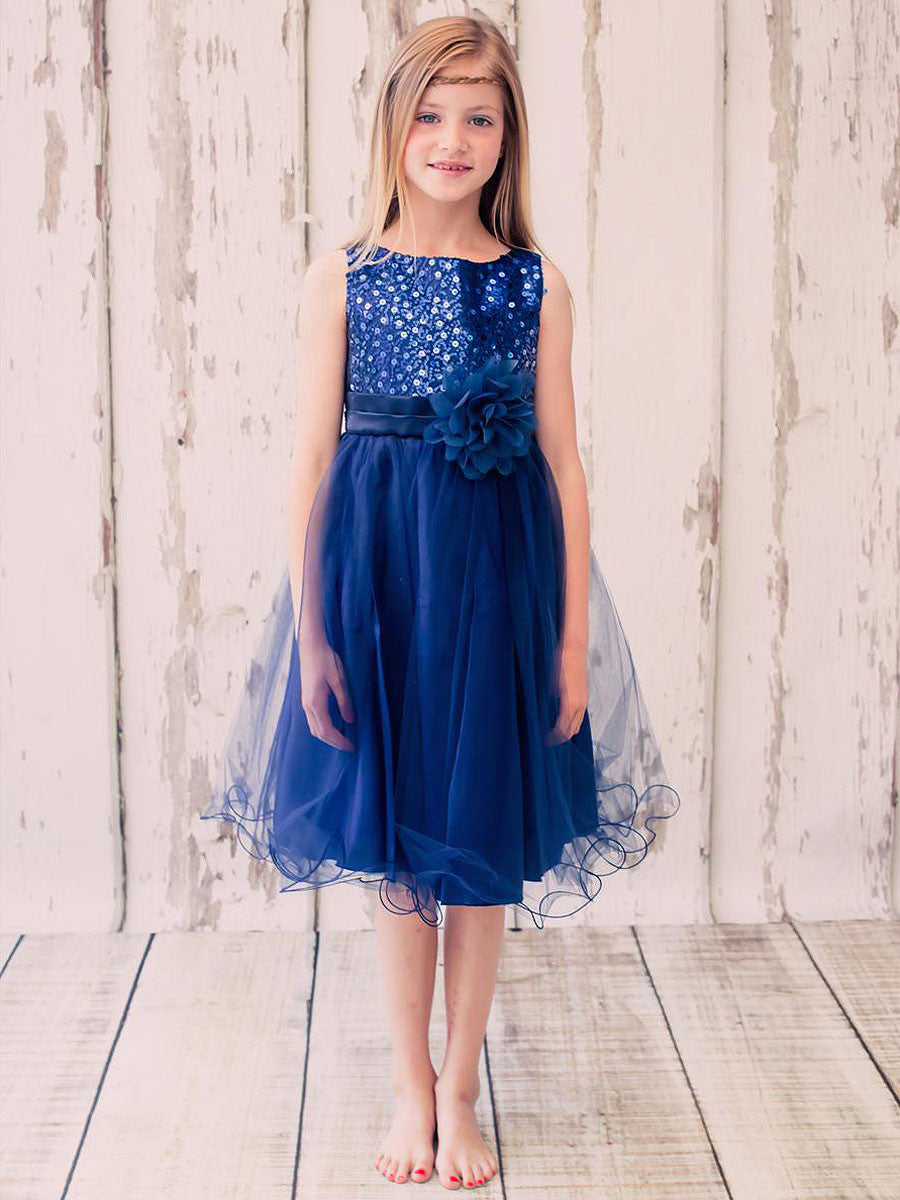 Sequin Navy Blue Tulle Skirt Flower Girl Dress Just Unique Boutique