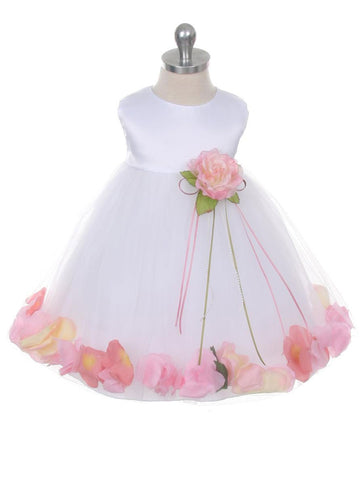 Classic Satin Flower Girl Dress With Floating Petals