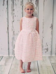 Satin Floral Embroidered Flower Girl Dress