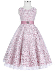Sweet Lace Flower Girl Dress with detachable Belt