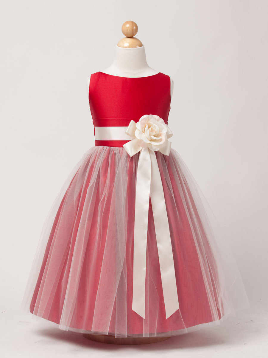 White Satin Flower Girl Dress with Tulle skirt – Just Unique Boutique