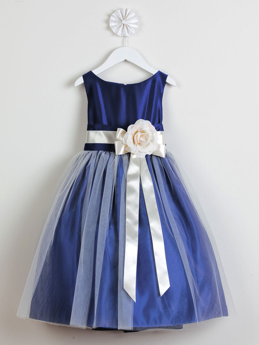 White Satin Flower Girl Dress With Tulle Skirt Just Unique Boutique