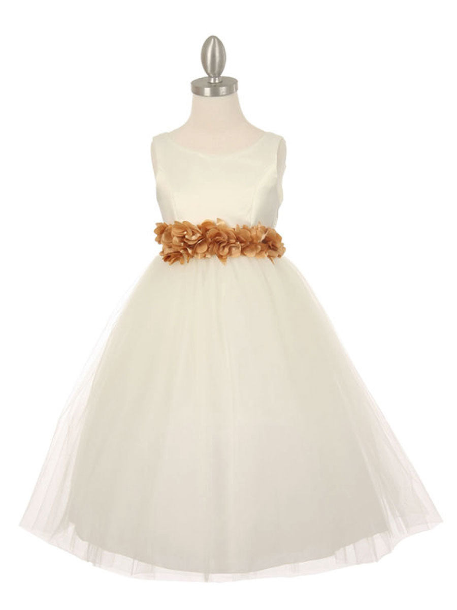 Ivory Satin Tulle Flower Girl Dress With Floral Sash Just Unique