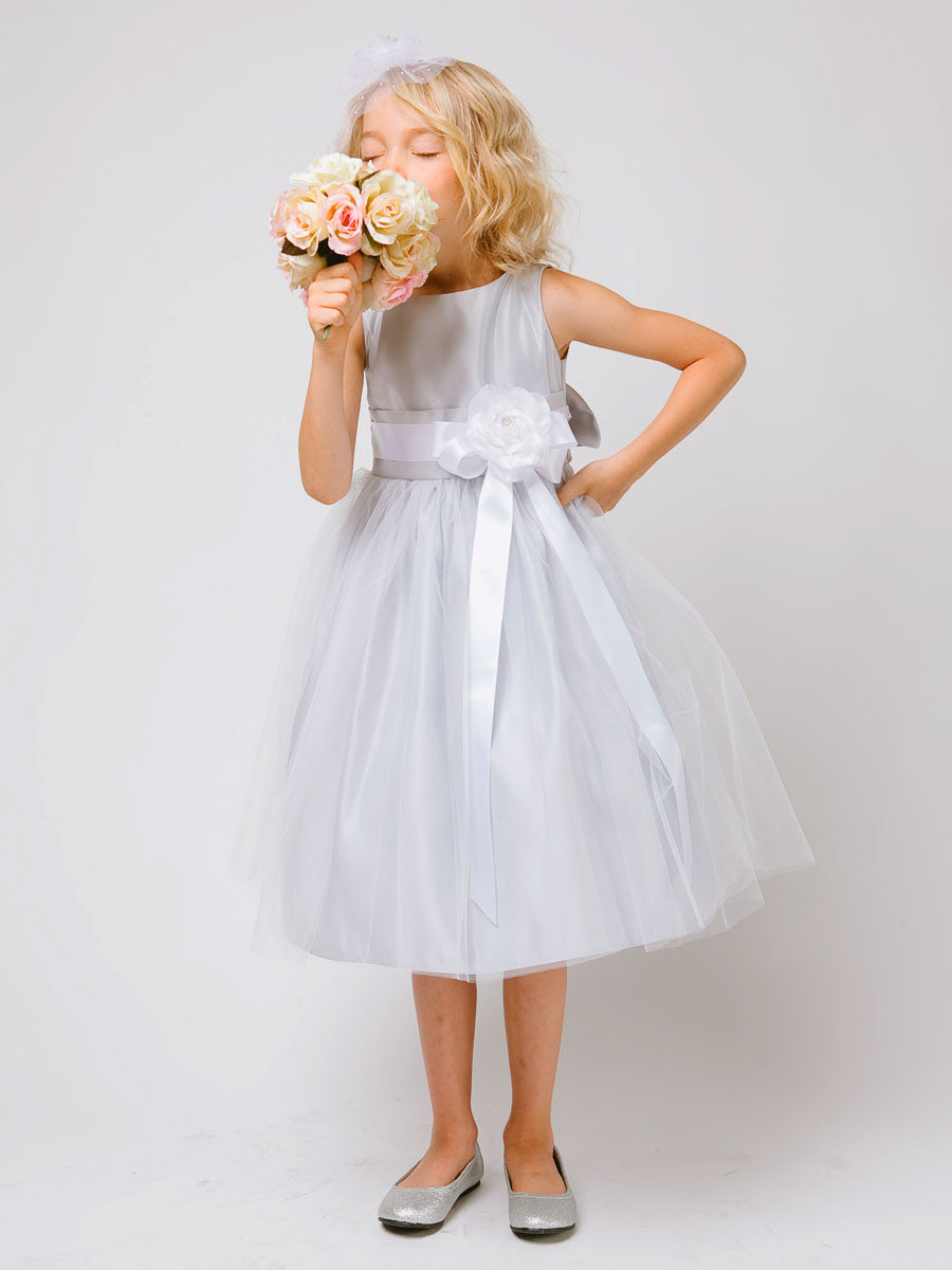 Silver satin flower girl dress with tulle skirt just unique boutique flower girl dress just unique boutique mightylinksfo